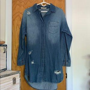 Forever 21 // long jean shirt